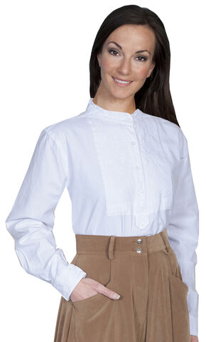 Rangewear by Scully Paisley Bib Inlay Long Sleeve Top, White, hi-res