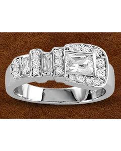 Kelly Herd Sterling Silver Large Rhinestone Buckle Ring, , hi-res