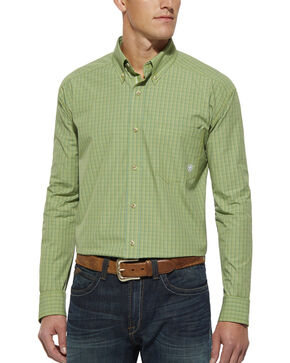 Ariat Green Plaid Randall Long Sleeve Shirt, Lt Green, hi-res