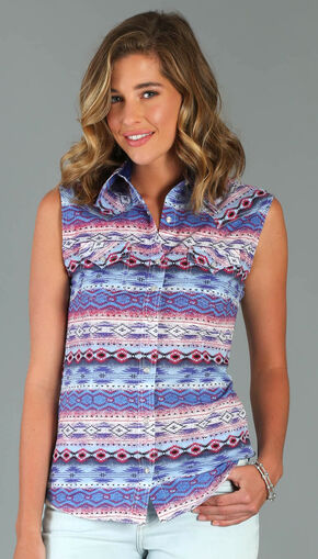 Wrangler Rock 47® Women's Multi Western Print Snap Shirt , Multi, hi-res