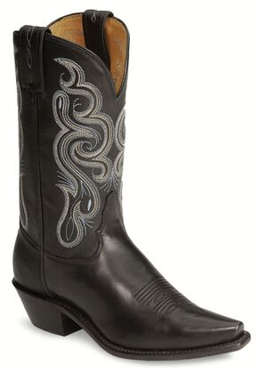 Tony Lama Stallion Leather Americana Cowgirl Boots, Black, hi-res