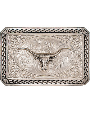 Montana Silversmiths Antiqued Wheat Trim Longhorn Rectangle Buckle, Silver, hi-res