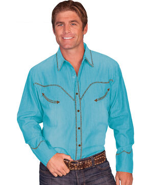 Scully Whip Stitched Denim Retro Western Shirt, Turquoise, hi-res