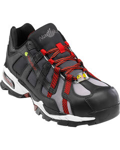 Nautilus Men's Black and Red Athletic Work Shoes - Alloy Toe , , hi-res