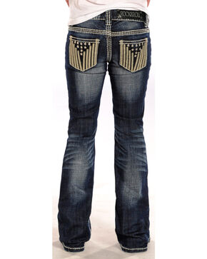 Rock & Roll Cowgirl Girls' Stars and Stripes Jeans - Boot Cut , Indigo, hi-res