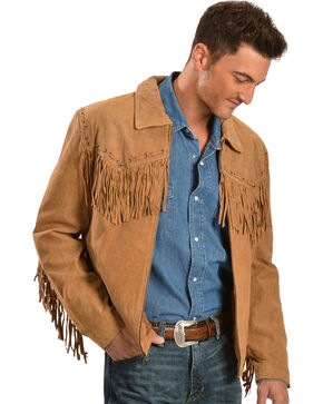 Scully Fringed Suede Leather Short Jacket, Bourbon, hi-res