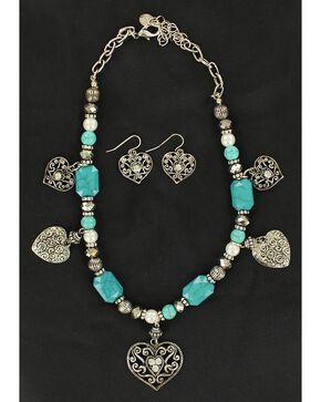 Blazin Roxx Beaded Heart Charm Necklace & Earrings Set, Turquoise, hi-res