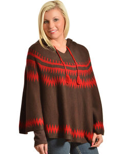 Pink Cattlelac Women's Hooded Sweater Poncho, , hi-res