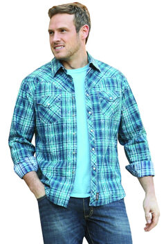 Wrangler Retro Men's Long Sleeve Blue Plaid Snap Shirt, , hi-res