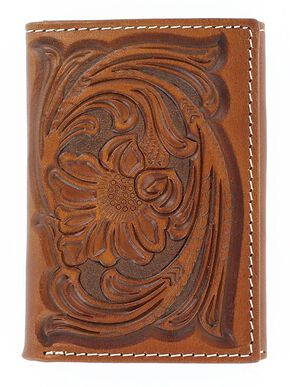 Nocona Floral Tooled Tri-fold Wallet, Tan, hi-res