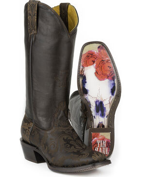 Tin Haul Women's Fillygree with Red Rose Steer Sole Cowgirl Boots - Square Toe, Brown, hi-res