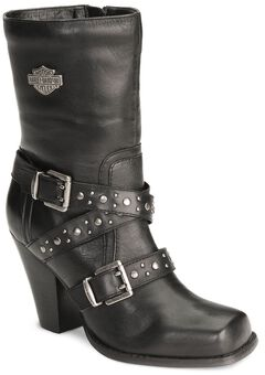 Harley Davidson Women's Obsession Harness Boots - Square Toe, , hi-res