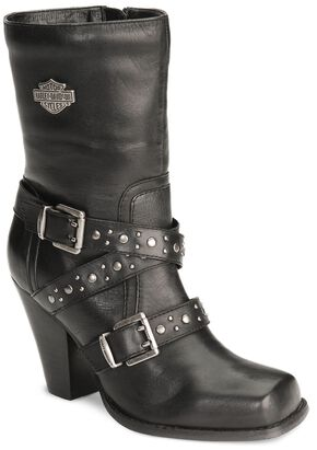 Harley Davidson Women's Obsession Harness Boots - Square Toe, Black, hi-res