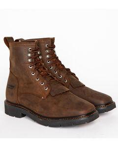 "Cody James Men's 8"" Waterproof Lace-Up Kiltie Work Boots - Square Toe, , hi-res"
