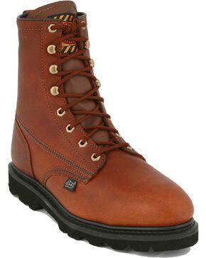 "Justin Premium 8"" Lace-Up Work Boots - Steel Toe, Tan, hi-res"