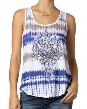 Miss Me Women's Blue Open Twist Back Embellished Tank, Blue, hi-res