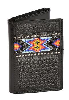 Nocona Beaded Aztec Basketweave Tri-fold Wallet, , hi-res