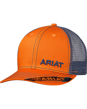 Ariat Men's Orange Offset Text Baseball Cap , Orange, hi-res