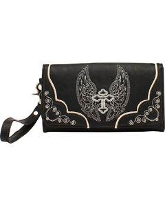 Blazin Roxx Silver Cross and Wings Clutch Wallet, , hi-res
