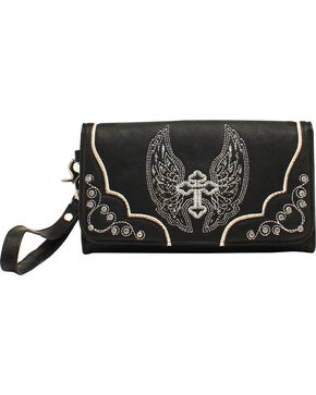 Blazin Roxx Silver Cross and Wings Clutch Wallet, Black, hi-res