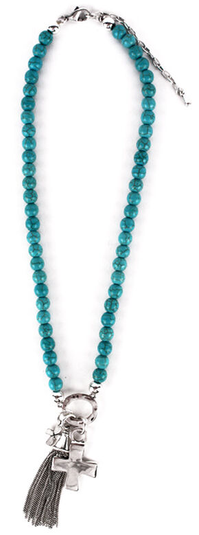 Treska Turquoise Beaded Necklace with Cross & Tassel Pendant, Turquoise, hi-res