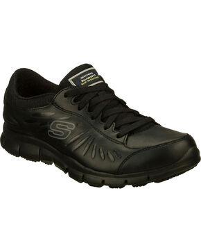 Skechers Women's Black Eldred Slip Resistant Work Shoes , Black, hi-res
