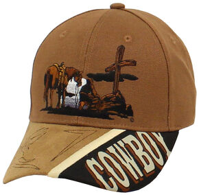 Twister Cowboy Prayer Cap, Tan, hi-res