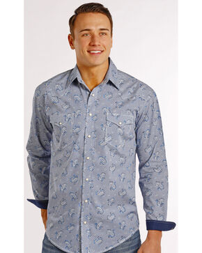 Rough Stock by Panhandle Slim Blue Paisley Tyrone Western Shirt , Print, hi-res