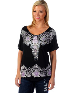 Liberty Wear Women's Floral Rhinestone Studded Top, , hi-res