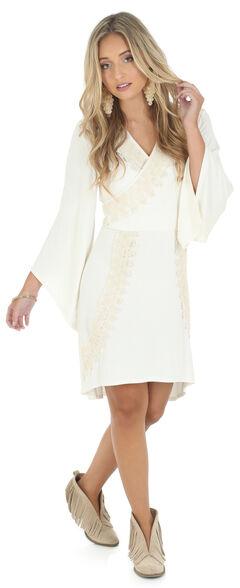 Wrangler Rock 47 Women's Flutter Sleeve Faux Wrap Dress, , hi-res