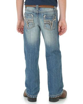 Wrangler Rock 47 Boys' Slim Bootcut Jeans, Dark Blue, hi-res