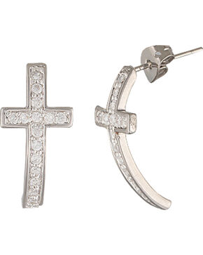Montana Silversmiths Sparkling Curled Cross Earrings, Silver, hi-res