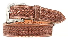 Nocona Fancy Tooled Basketweave Leather Belt, , hi-res