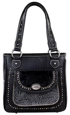 Montana West Trinity Ranch Black Concealed Handgun Collection Handbag with Front Pocket, , hi-res