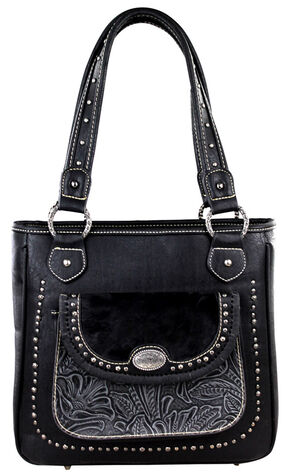Montana West Trinity Ranch Black Concealed Handgun Collection Handbag with Front Pocket, Black, hi-res