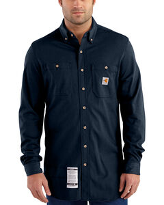 Carhartt Men's Navy Flame-Resistant Force Cotton Hybrid Shirt , , hi-res
