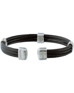 Sabona Trio Cable Black & Satin Stainless Magnetic Wristband, , hi-res