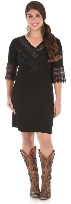 Wrangler Women's Black V-Neck Crochet Trim Dress , , hi-res