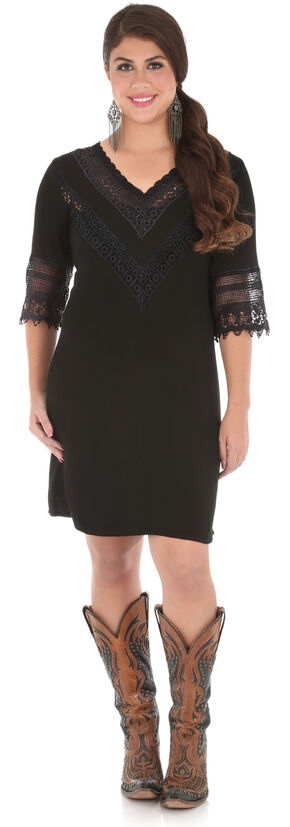 Wrangler Women's Black V-Neck Crochet Trim Dress , Black, hi-res