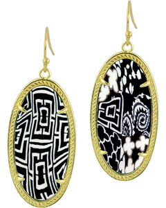 Jilzarah Black & White Gold Frame Earrings, , hi-res