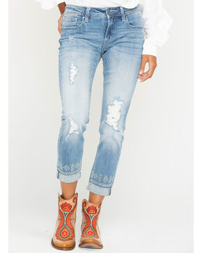 Miss Me Women's Embroidered Roll-Cuff Boyfriend Ankle Jeans - Straight Leg , Indigo, hi-res