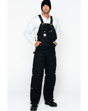 "Carhartt Quilt Lined Duck Bib Overalls - Reg, Big. Up to 50"" waist, Black, hi-res"