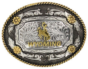 Cody James Men's Oval Wyoming Belt Buckle, Silver, hi-res