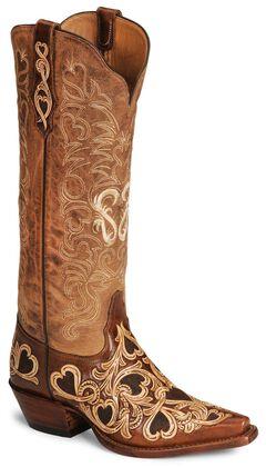 Tony Lama Signature Series Hearts & Scroll Cowgirl Boots - Snip Toe, , hi-res