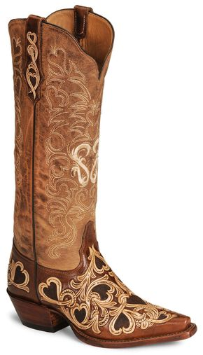 Tony Lama Signature Series Hearts & Scroll Cowgirl Boots - Snip Toe, Cognac, hi-res