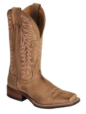 Nocona Fancy Stitched Rubber Sole Distressed Cowgirl Boots - Square Toe, Tan, hi-res