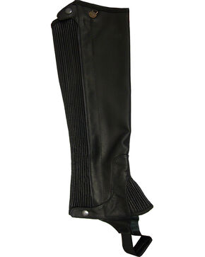 Ovation Kids' Pro Top Grain Leather Half Chaps, Black, hi-res