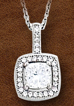 Kelly Herd Women's Sterling Silver Square Bezel Set Pave Necklace, , hi-res