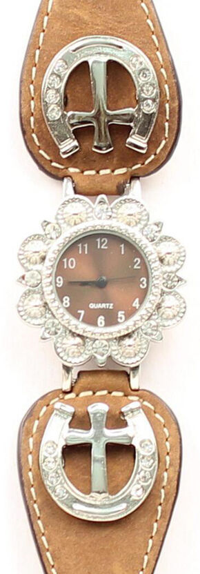 Fancy Horseshoe & Cross Concho Watch, Light Brown, hi-res