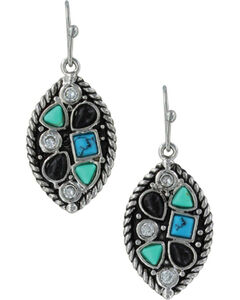 Montana Silversmiths Canyon Colors River Rock Marquis Earrings, Silver, hi-res